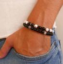 New fashion 8mm natural energy stone bracelet zircon diamond ball elastic bracelet bracelet set NHZU212764