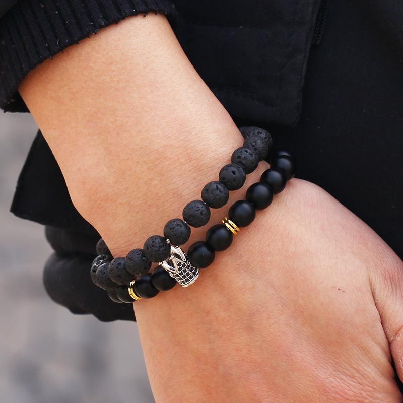 New fashion 8mm black frosted volcanic stone micro-set zircon diamond ball crown bracelet bracelet set NHZU212765