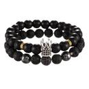 New fashion 8mm black frosted volcanic stone microset zircon diamond ball crown bracelet bracelet set NHZU212765