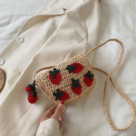 New cute knitted strawberry straw bag summer new single shoulder messenger waist bag woven small bag NHGA212813's discount tags