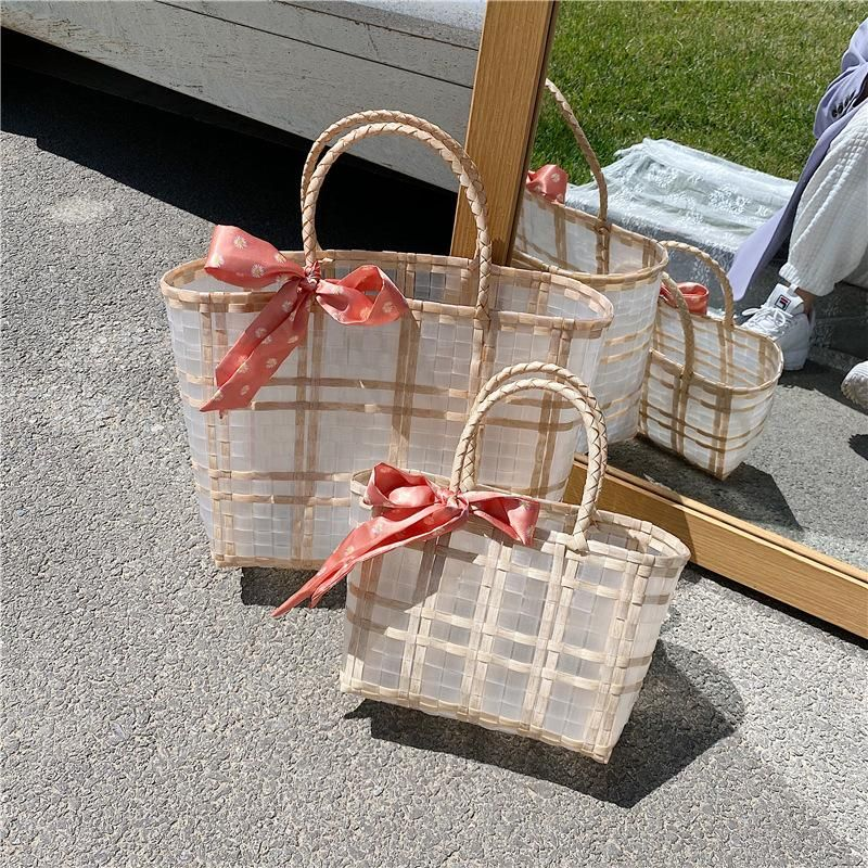 Summer new female bag hand-woven plastic handbag pvc transparent travel beach bag vacation female bag NHGA212837