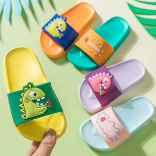 Children's sandals and slippers summer new cute cartoon dinosaur eating watermelon children's slippers NHPI212859's discount tags