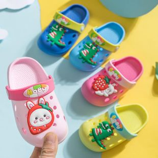 Children's slippers summer cute cartoon dinosaur strawberry rabbit children's hole shoes sandals and slippers NHPI212867's discount tags