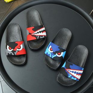 New anti-skid cartoon camouflage shark adult children parent-child models sandals and slippers NHPI212868's discount tags