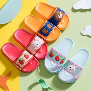Children's slippers summer cute cartoon bear biscuits strawberry rabbit children's sandals and slippers NHPI212872's discount tags
