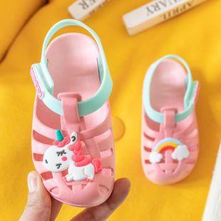 Sandalias para niños sandalias lindas de animales de dibujos animados zapatillas de dinosaurio para niños unicornio arcoiris caballo NHPI212874's discount tags
