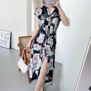 Spring new fashion loose crane pattern floral dress wholesale NHAM212923's discount tags