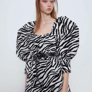 Spring animal print printed poplin dress wholesale NHAM212930's discount tags