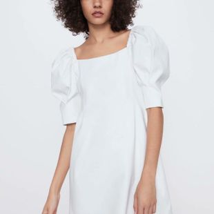 Spring simple puffy sleeve dress wholesale NHAM212936's discount tags
