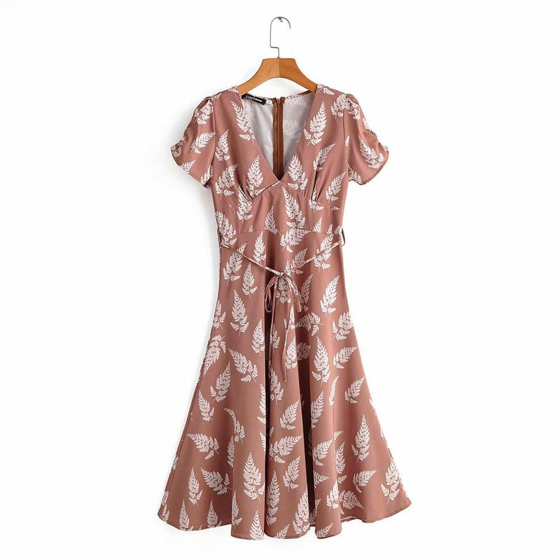 New Simple V-neck Leaf Print Waist Lace Short Sleeve Dress Wholesale NHAM212938