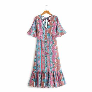 Spring New V-neck Back Hollow Lace Printed Flare Sleeve Dress Wholesale NHAM212951's discount tags