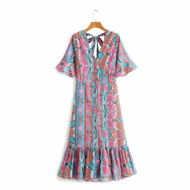 Spring New V-neck Back Hollow Lace Printed Flare Sleeve Dress Wholesale NHAM212951
