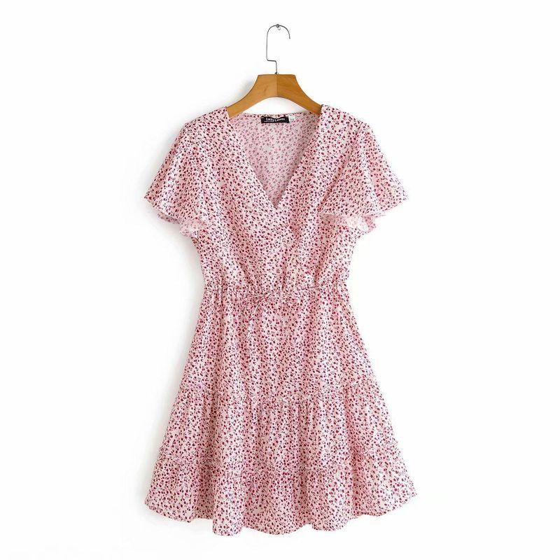 Spring new slim slimming wild French V-neck short-sleeved printed dress wholesale NHAM212952
