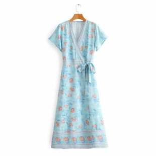 New simple printed wrap around lace short sleeve elegant long skirt wholesale NHAM212954's discount tags