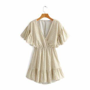 New fashion V-neck high waist lotus leaf trim printed short sleeve dress wholesale NHAM212957's discount tags