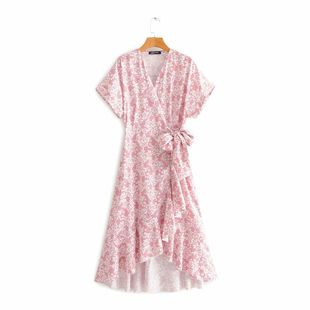 New fashion high waist V-neck floral short sleeve wrap-around midi dress wholesale NHAM212958's discount tags