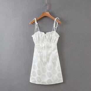 Spring new jacquard satin chrysanthemum suspender dress wholesale NHAM212959's discount tags
