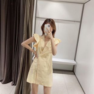 Spring new blazer-style ruffled vest dress wholesale NHAM212960's discount tags