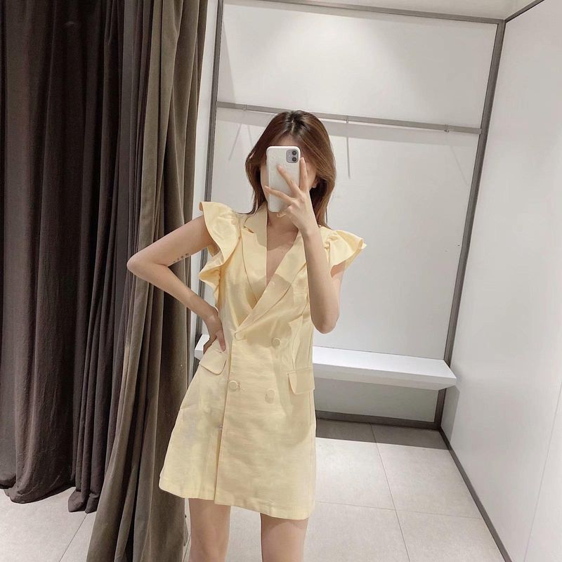 Spring new blazer-style ruffled vest dress wholesale NHAM212960