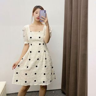 Spring new fashion wave dot pattern square collar dress wholesale NHAM212963's discount tags