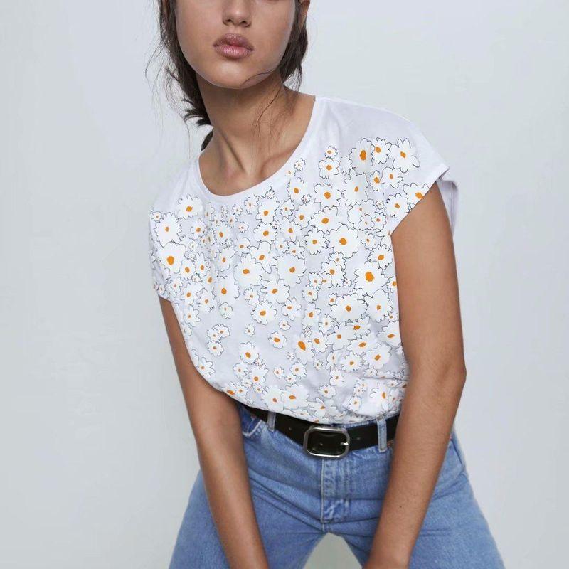 Summer new fashion wild printed round neck T-shirt wholesale NHAM212967