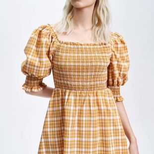 Spring new fashion plaid pleated collar dress wholesale NHAM212971's discount tags