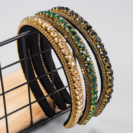 New fashion wild hairband multi-layer glass drill full diamond gold velvet fashion thin-edged headband NHLN212995's discount tags
