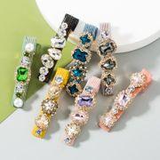 Épingles à cheveux sauvages de nouvelle mode coréenne incrustées de clip de mot en diamant de verre coloré en gros NHLN213000