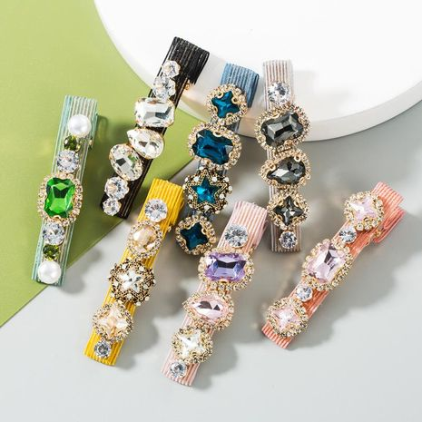 Korean new fashion wild hairpins inlaid with colored glass diamond word clip wholesale NHLN213000's discount tags