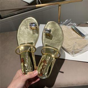 Summer new fashion beach word with rhinestone flat bottom clip toe leisure sandals NHEH213007's discount tags