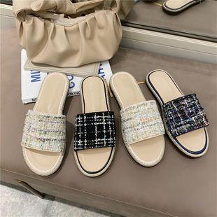Korean new fashion fisherman shoes, baotou, half drag, thick platform slippers NHEH213009's discount tags