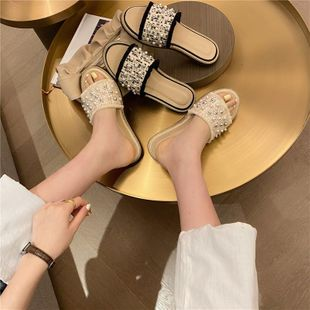 New fashion fisherman shoes flat bottom with rivets pearl wild comfortable sandals wholesale NHEH213012's discount tags