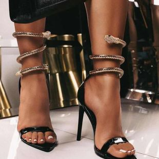 New fashion rhinestones detachable snake-shaped winding sandals wild round feet high heels wholesale NHEH213013's discount tags