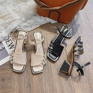 New fashion word buckle fashion sandals chunky heel open toe Roman women's shoes wholesale NHEH213014's discount tags