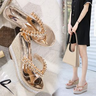 Summer wedge heel thick bottom flip flops beaded vacation soft beach non-slip pearl slippers NHEH213015's discount tags