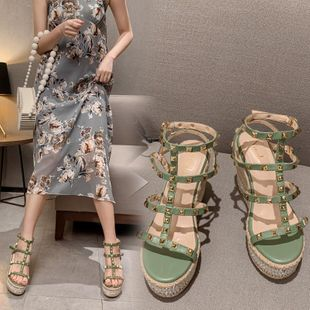Summer new fashion high-heeled outer wear rivet thick bottom beach shoes wholesale NHEH213016's discount tags