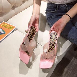 Summer new Korean fashion low high heel thick heel sandals wholesale NHEH213018's discount tags