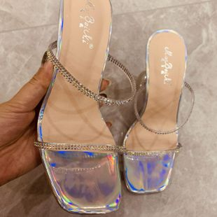 New Simple Crystal Heel Sandals Transparent Rhinestone High Heel Sandals Wholesale NHEH213021's discount tags