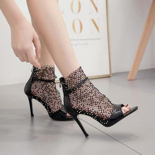 New fashion fish mouth shoes open toe sandals fine heel Roman high heels sandals wholesale NHEH213023's discount tags