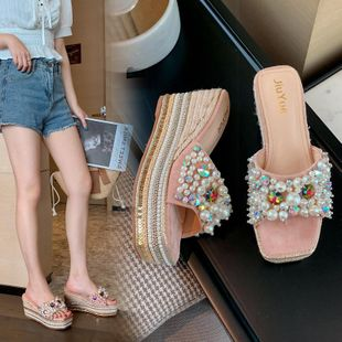 Summer new fashion pearl color diamond wild thick bottom high heels wholesale NHEH213024's discount tags