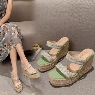 New fashion Korean pearl high-heeled diamond beach shoes wholesale NHEH213026's discount tags