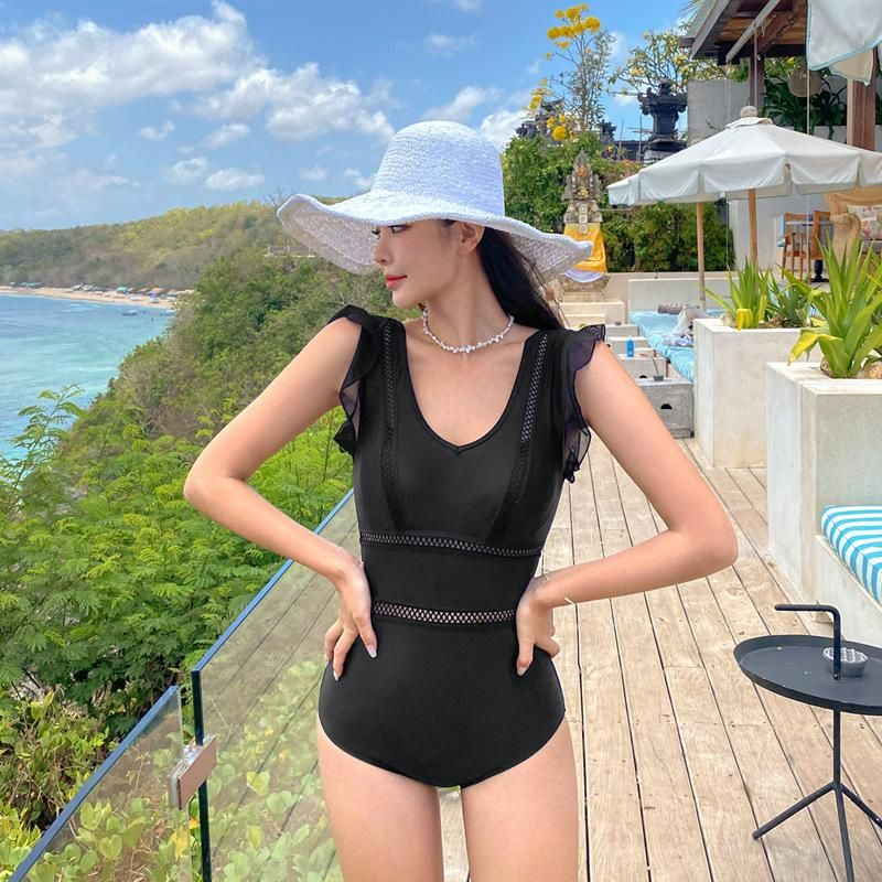 New fashion conjoined sexy cover belly small chest gathered conservative swimsuit NHHL213049