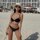 New split threepoint sexy black triangle bikini underwire swimsuit NHHL213054