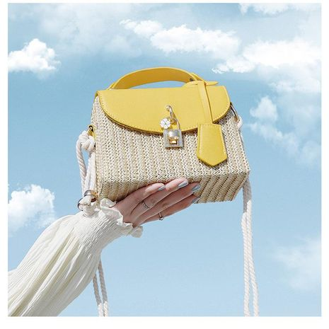 Women's bag wholesale nihaojewelry new wave Korean woven crossbody bag fashion straw handbag NHTC213090's discount tags