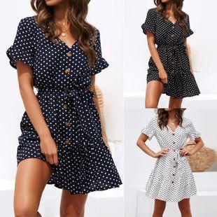 New fashion sexy polka dot printed V-neck button lace-up chiffon dress NHYF213130's discount tags