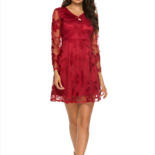 New fashion ladies V-neck lace dress wholesale NHYF213132's discount tags