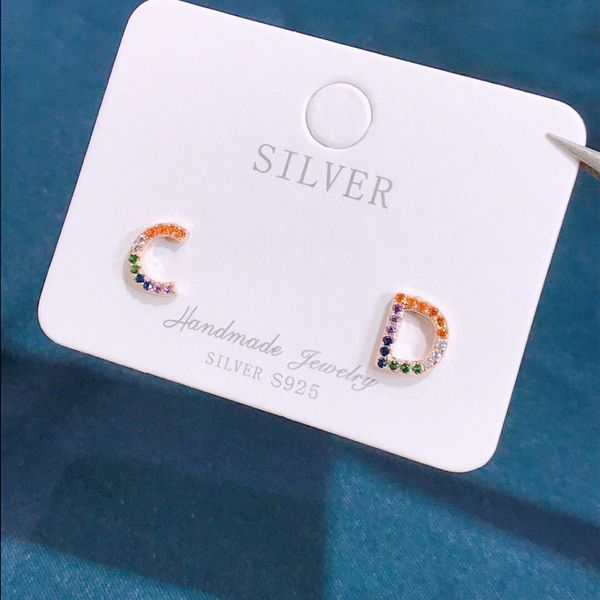 S925 Silver Letter Earrings with CD and Diamonds NHKL206866