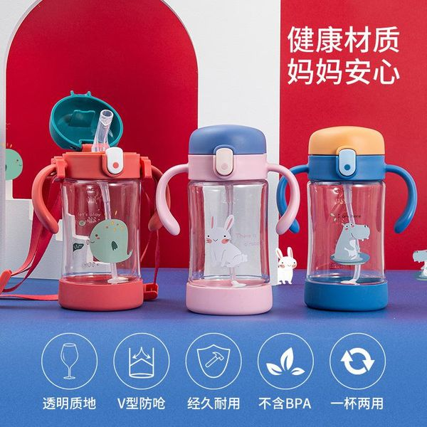 Cartoon printed handle strap children's kettle heat-resistant children's straw with a cute drinking cup NHtn206873