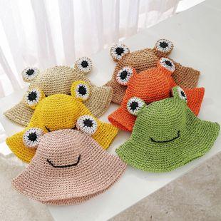 Modelos de verano sombreros de paja de rana tejidas a mano niños y niñas estudiantes sombreros para el sol niños sombreros para el sol NHTQ206912's discount tags