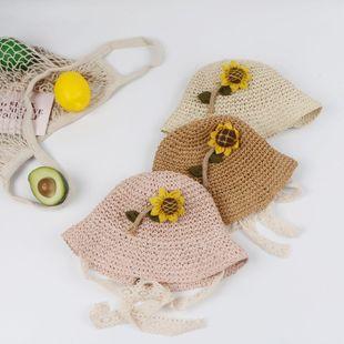 Primavera y verano nuevo sombrero de paja niño princesa sol sombrero coreano hembra bebé playa sol sombrero NHTQ206915's discount tags